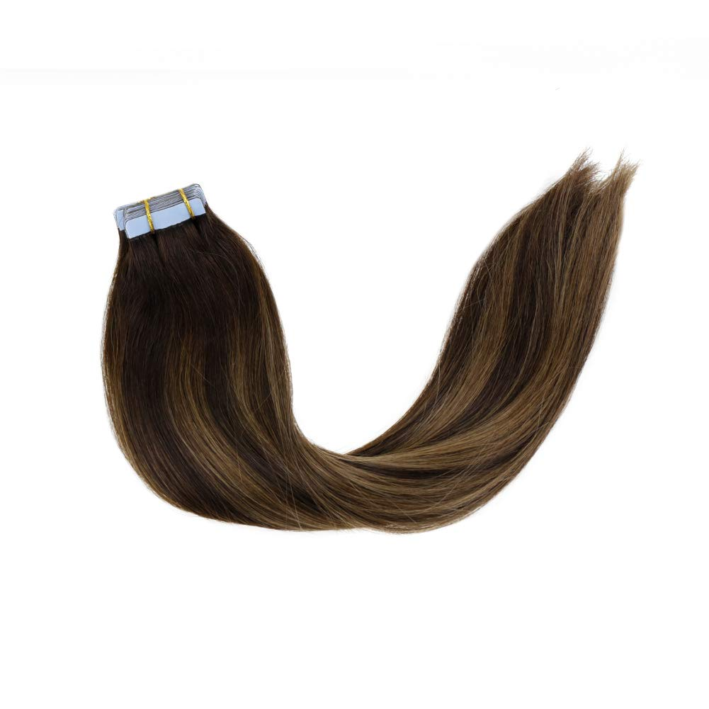 LaaVoo 18 Inch Seamless Tape in Hair Extensions 20 Pieces Balayage Ombre Color #2 Darkest Brown to Ash Brown and Color #2 Darkest Brown Skin Weft Straight Hair Extension