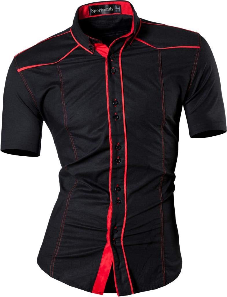 Sportrendy Men Casual Slim Short Sleeve Button Down Dress Shirt JZS084 Black M
