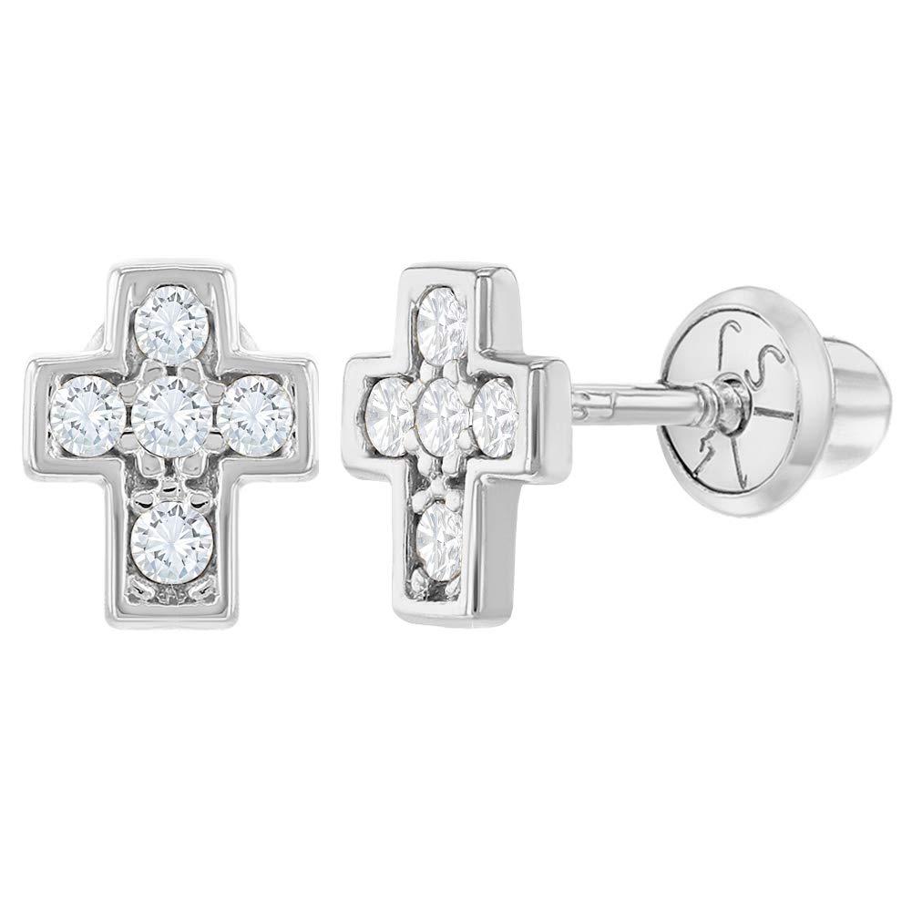 14k White Gold Clear CZ Little Cross Screw Back Earrings for Baby Girls