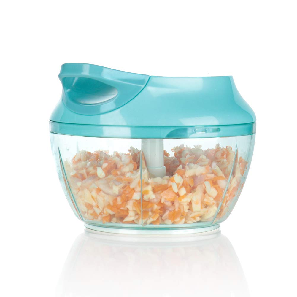Ourokhome Mini Garlic Chopper Grinder - Portable Baby Food Masher for Vegetables, Onions, Tomato, Potato (2 cup, Light Blue)
