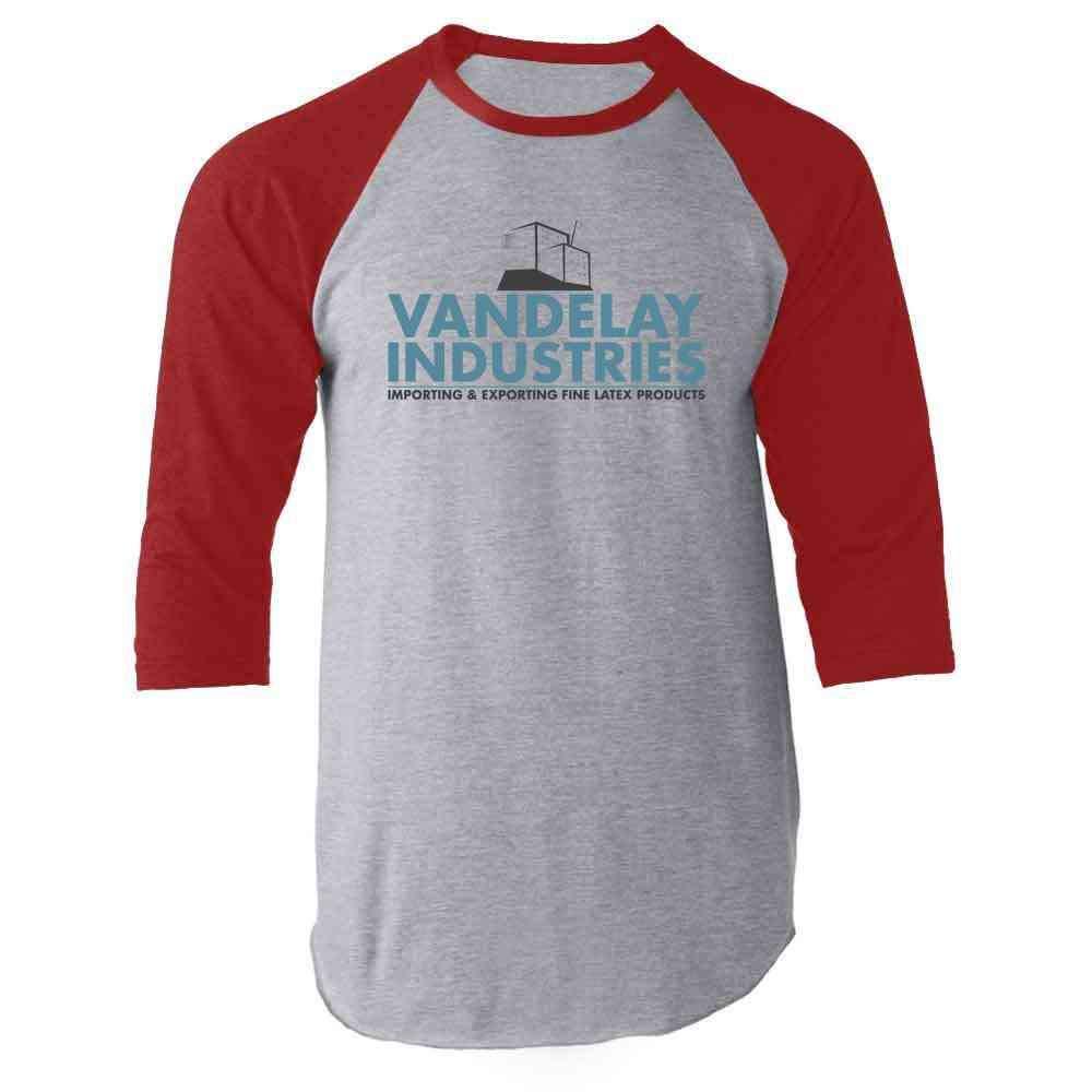 Vandelay Industries Company Logo Halloween Costume Red M Raglan Baseball Tee Shirt