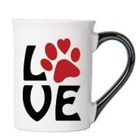 Cottage Creek Coffee Mug, Paw Print Love Dog Coffee Mug, Large 18 Oz Ceramic Dog Mug, Dog Lover Mug, Dog Mom Mug [White]