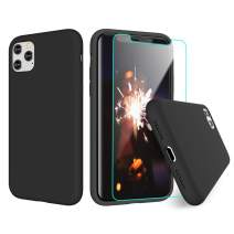 VEGO Compatible for iPhone 11 Pro Max Case with Screen Protector, Liquid Silicone Protective Shockproof Gel Rubber Bumper Slim Cover Case with Soft Microfiber Lining 6.5 inch - Black