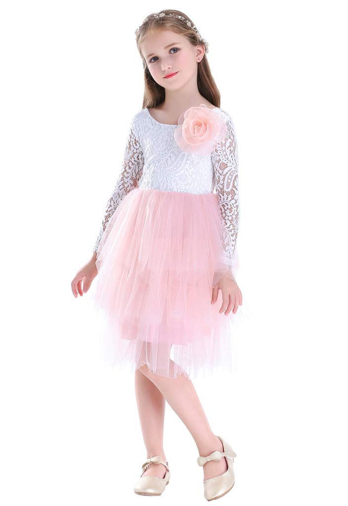 Bow Dream Bow Dream Lace Flower Girl Dresses, Backless Tulle Tutu Birthay Party Dresses for Little Girl