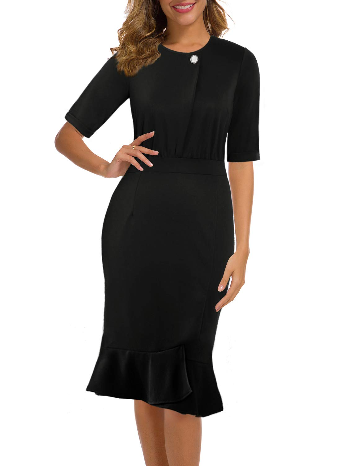MSLG Women's 50s Elegant Half Sleeve Bodycon Casual Work Business Cocktail Party Sheath Pencil Dress