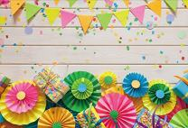 Baocicco Polyester 6.5x5ft Background for Paper Fans Confettis Gift Boxes Colorful Flags White Wood Plank Wall Photography Backdrop Children Kindergarten Back to School Birthday Baby Shower PhotoCall
