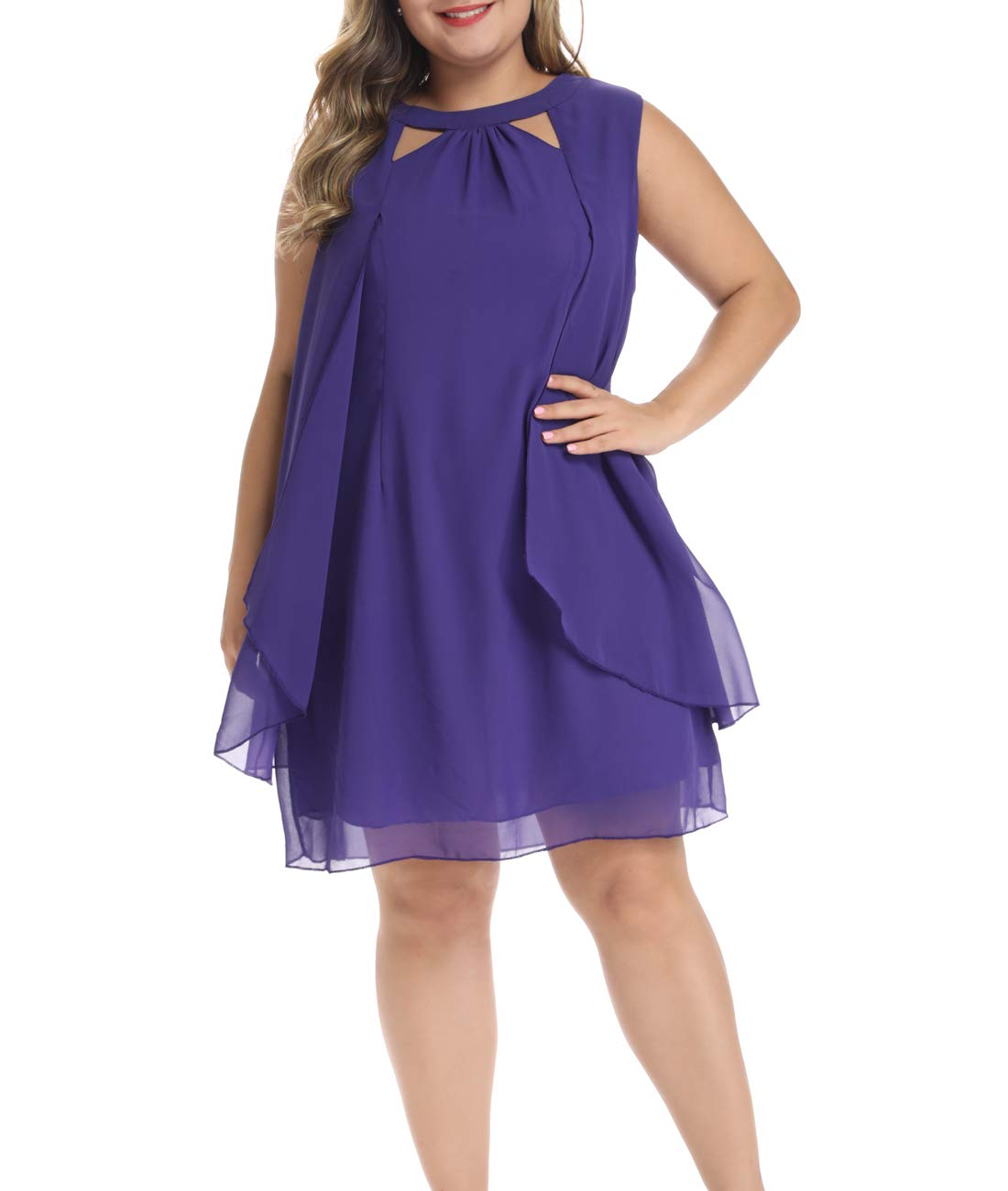 Lalagen Womens Summer Chiffon Sleeveless Plus Size Cocktail Party Knee Length Dress Purple XXXL
