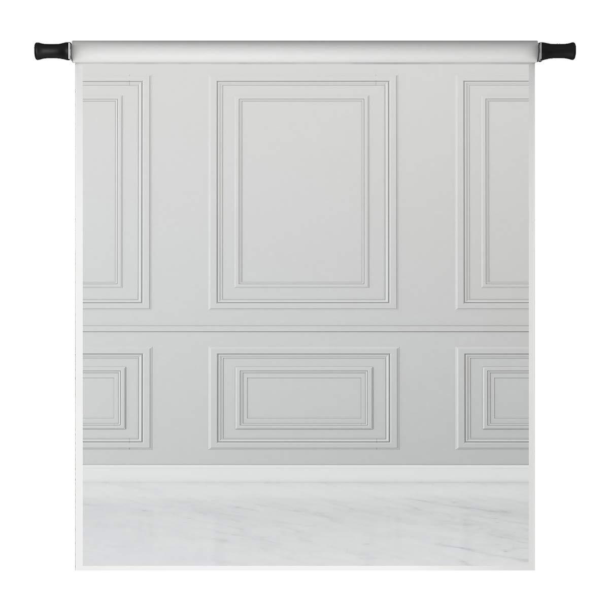 Kate 10x10ft Grey Wall Backdrops for Photoshoot Empty Room White Floor Classic Interior Design Microfiber Photo Studio Props