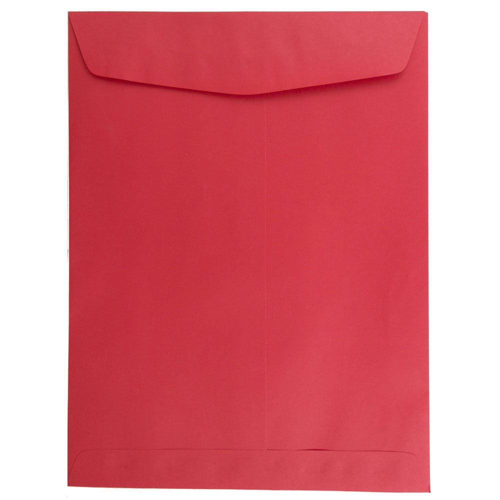 JAM PAPER 9 x 12 Open End Catalog Colored Recycled Envelopes - Red Recycled - 50/Pack