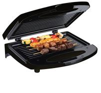 Chefman Flat Press with Non-Stick Plates Electric Contact Grill Griddle, Indoor Dual Closed Sandwich Maker with Nonstick Plates & Cool Touch Handle, 4.00x10.00x10.00, 2 Serving, Compact, Black