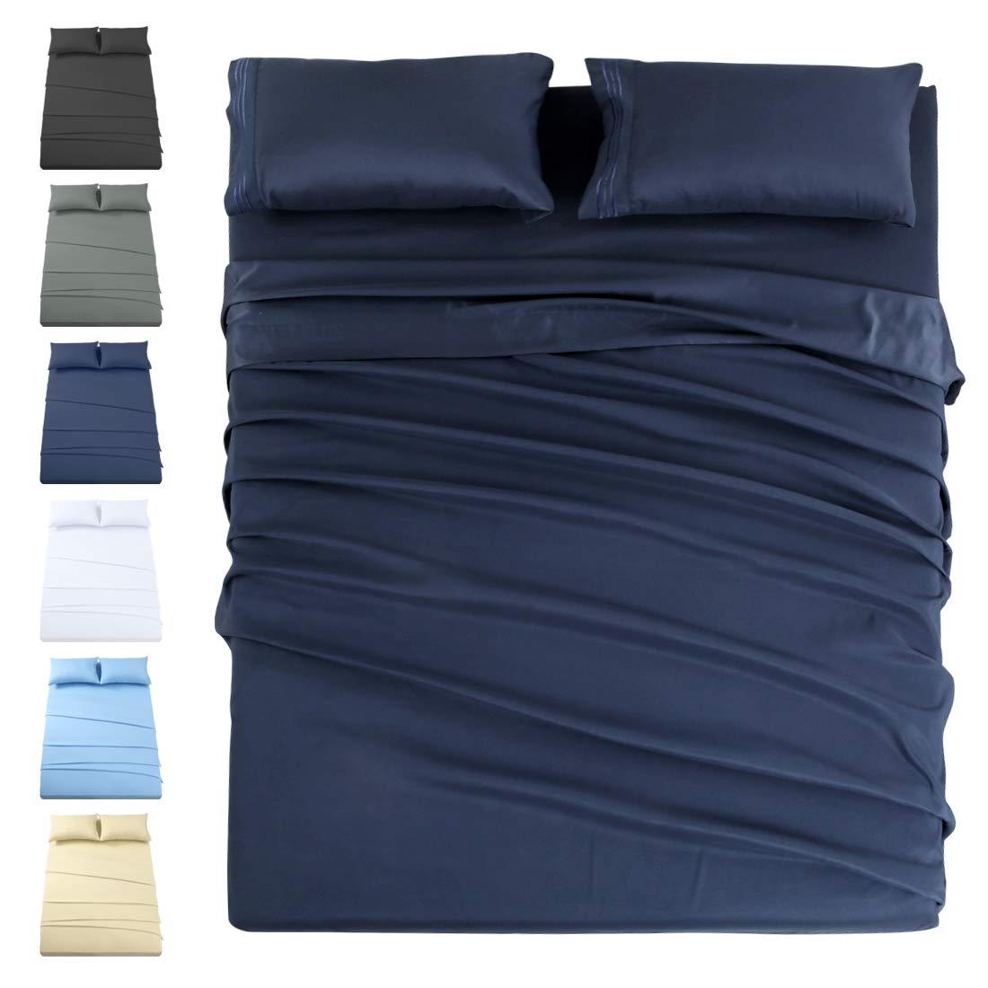 INGALIK Premium Bed Sheet Set 3 Piece 120 GSM Brushed Microfiber,1800 Series Hotel Luxury Bedding Sheets,Ultra Soft,Comfy,Fade Resistant,No Shrinkage,Hypoallergenic,Deep Pocket(Navy,Twin XL)