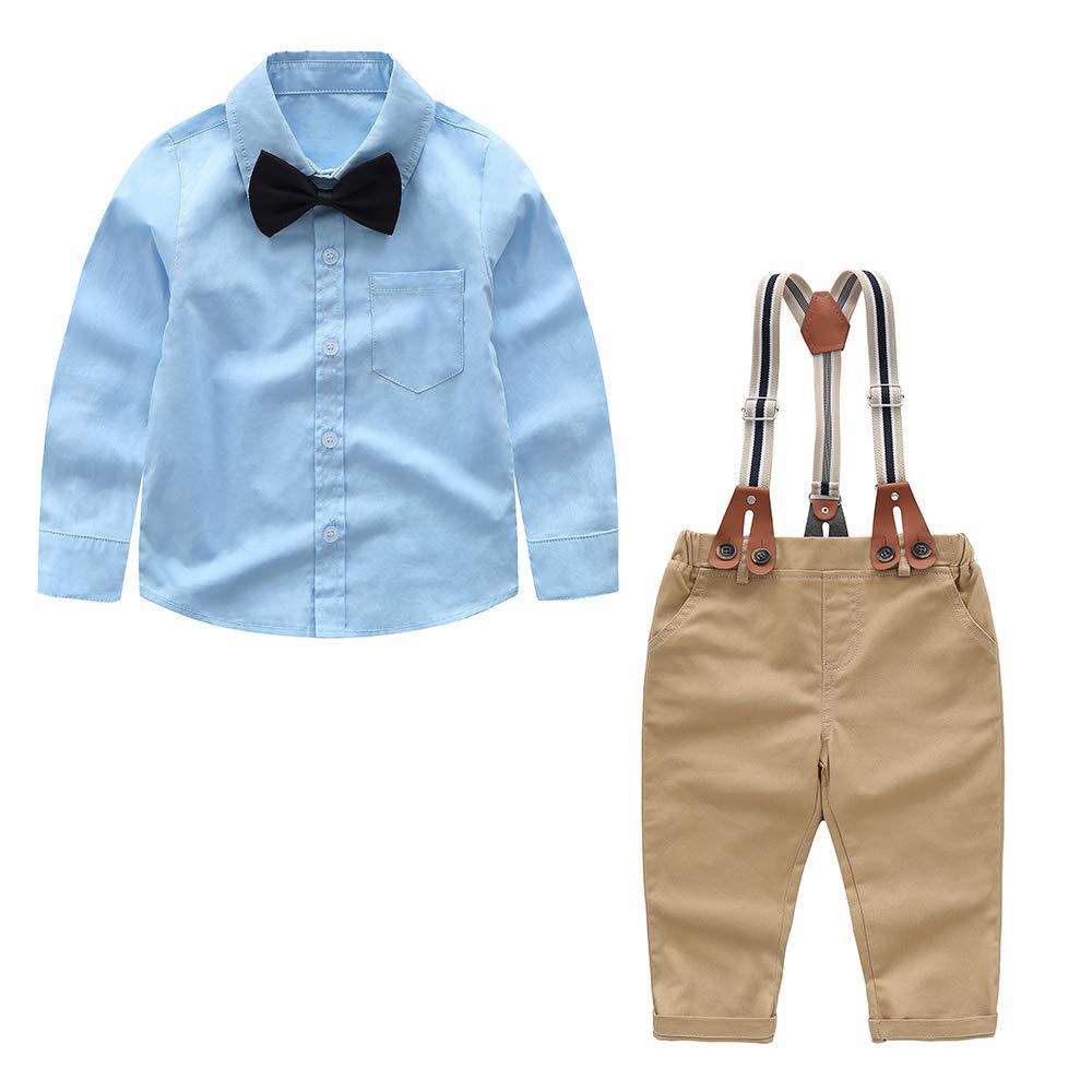 Baby Boy Clothes Set Shirt + Bowtie + Suspender Pant Set 4pcs Toddler Boy Infant Gentleman Outfits Suit Set