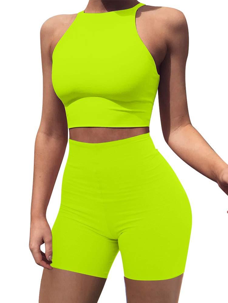 BEAGIMEG Women's Sexy 2 Pieces Outfit Halter Crop Top Bodycon Shorts Set