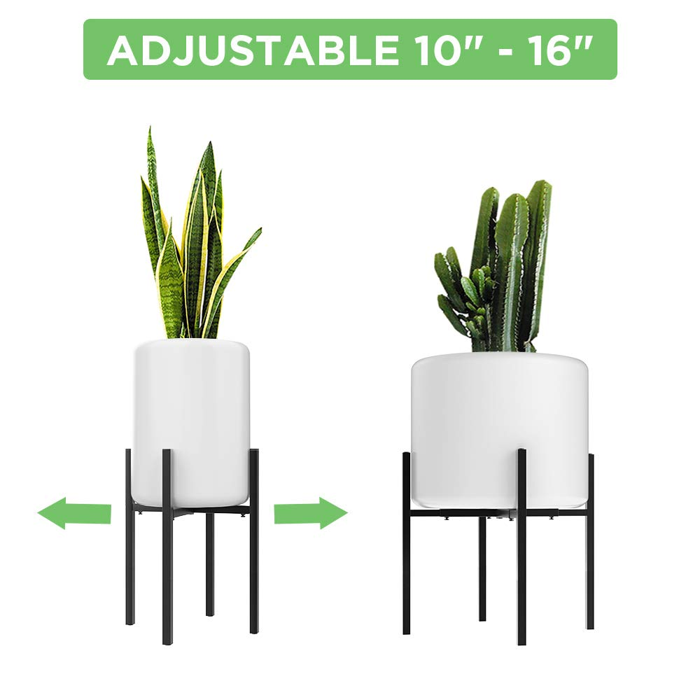 Adjustable Metal Plant Stand (10 to 16 inches), Mid Century Modern Plant Stand (16 inches in Height), Indoor & Outdoor Plant Stand, Fit 10 11 12 13 14 15 16 inch Pots (Pot & Plant Not Included), Black