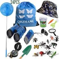 QHZHANG 24PCS 3-12 Years Old Boys Girls Toy - Explorer Kit, Telescopic Butterfly Net Set,Binoculars, Compass, Flashlight Whistle Magnifying Glass,hat,Kids Adventure Explorer Set (Blue and White)