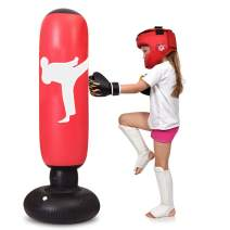 TUOWEI Kids Punching Bag, Inflatable Punching Bag for Kids 63Inch Freestanding Ninja Boxing Bag Bounce Back for Practicing Karate, Taekwondo, MMA, Kids Adults Boxing Toy