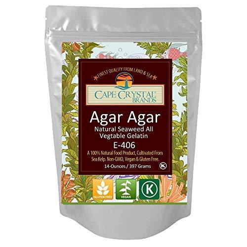 Agar Agar Powder | Vegan Gelatin Dietary Fiber Supplement - Vegan Unflavored (K) Kosher -(14-Oz.)