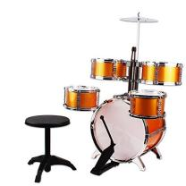 NiGHT LiONS TECH Music Jazz Drum Rock Set Toy Big Band Drum with Cymbals 6 Pcs (5 pcs Golden Drum and 1 pcs Chair) Educational Toys for Kids Party Game