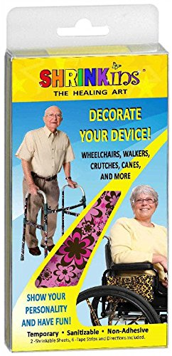 Medical Device Decorating Cover Kit | Fun Fashionable Shrink Wrap Decorations - Walkers Wheelchairs Canes Crutches IV Poles | Temporary Uses No Adhesive by Shrinkins The Healing Art | Adult & Teen