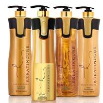 Keratin Cure Best Treatment Gold & Honey V2 Lgel 4 Piece Kit STRONG Intensive Extracts Professional Complex All NEW VERSIONS(4 pc / 32 FL OZ)