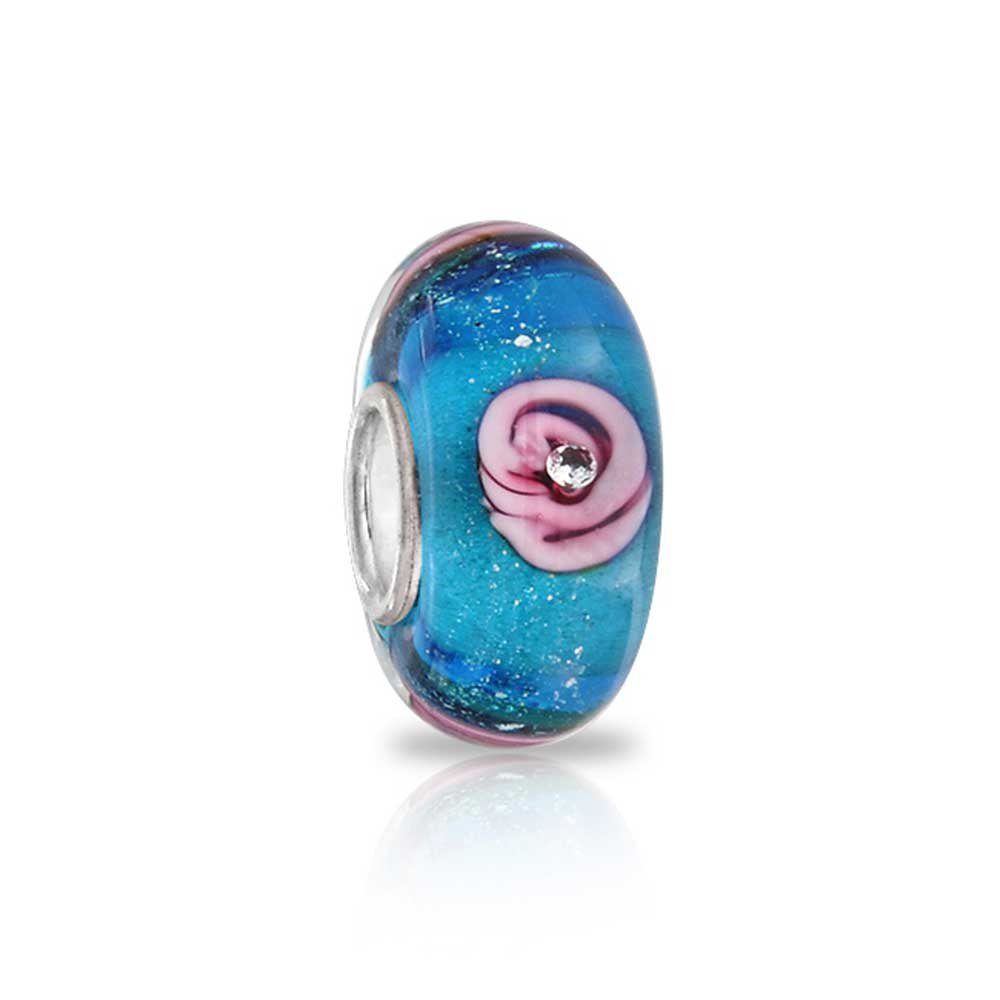 Floral Murano Glass Flower Rose Spacer Bead Fits European Charm Bracelet For Women Teen Sterling Silver More Colors