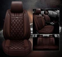 Amooca Car Seat Protector Front+Rear PU Leather Full Surround Cover Pad Protects Automotive Vehicle Leather 8PCS Coffee