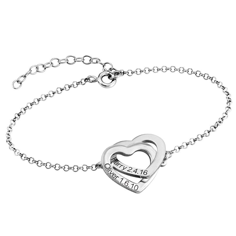 MyNameNecklace Personalized Adjustable Hearts Bracelet Custom Made Engraved Jewelry with Two Pendants - Valentine's Day Birthday Gift for Her