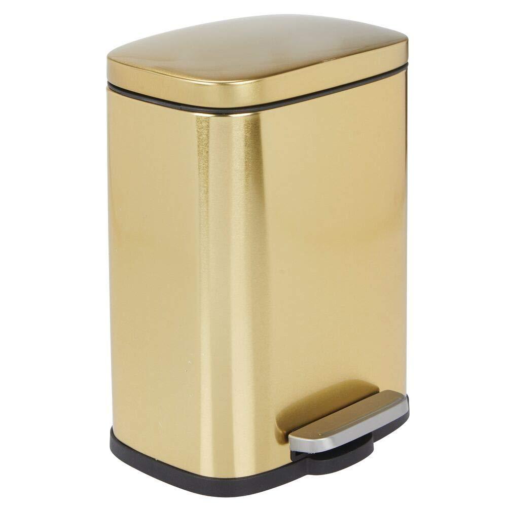 mDesign 1.3 Gallons Rectangular Step Trash Can Wastebasket, Garbage Container Bin for Bathroom, Powder Room, Bedroom, Kitchen, Craft Room, Office - Removable Liner Bucket, Hands-Free - Soft Brass