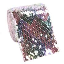 """Midi Ribbon 2 Yards/lot 3"""" Wide Sequin and Woven Ribbon Fish Scales Reversible Ribbon Fabric, Rainbow Purple/Silver Color, DIY Headwear Material Wedding Party Decoration"""