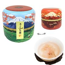 Sakura cherry blossom blooming flower tea in Mount FUJI steel container