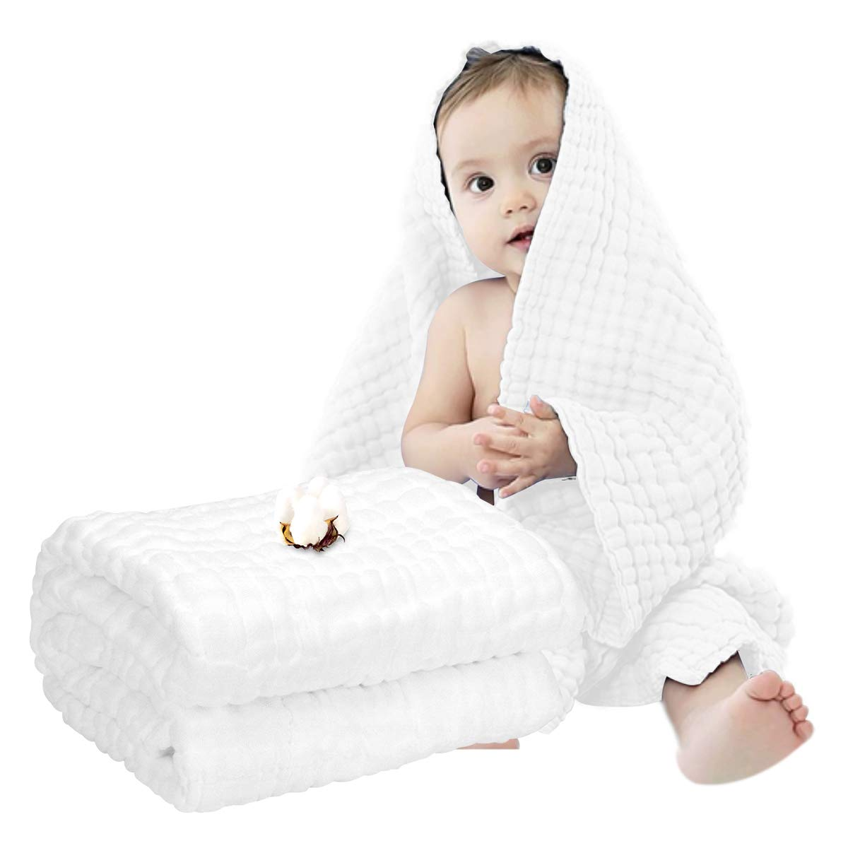FOOK FISH Muslin Baby Towel Super Soft Cotton Baby Bath Towel 6 Layers Infant Towel Newborn Towel Blanket Suitable for Baby's Delicate Skin 40 x 40inches White