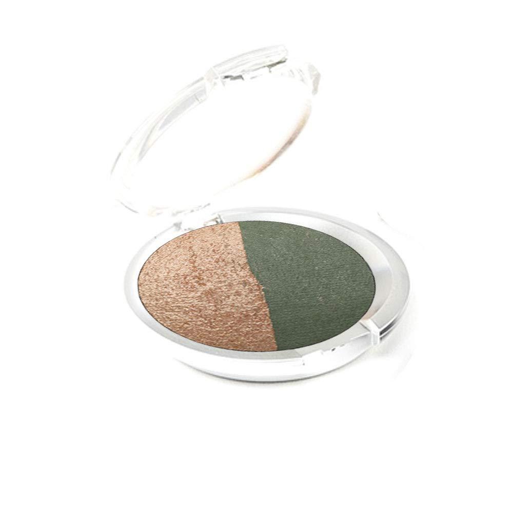 Ageless Derma Creamy Mineral Baked Eyeshadow Duo-Vegan Eye shadow (Green-Apricot)