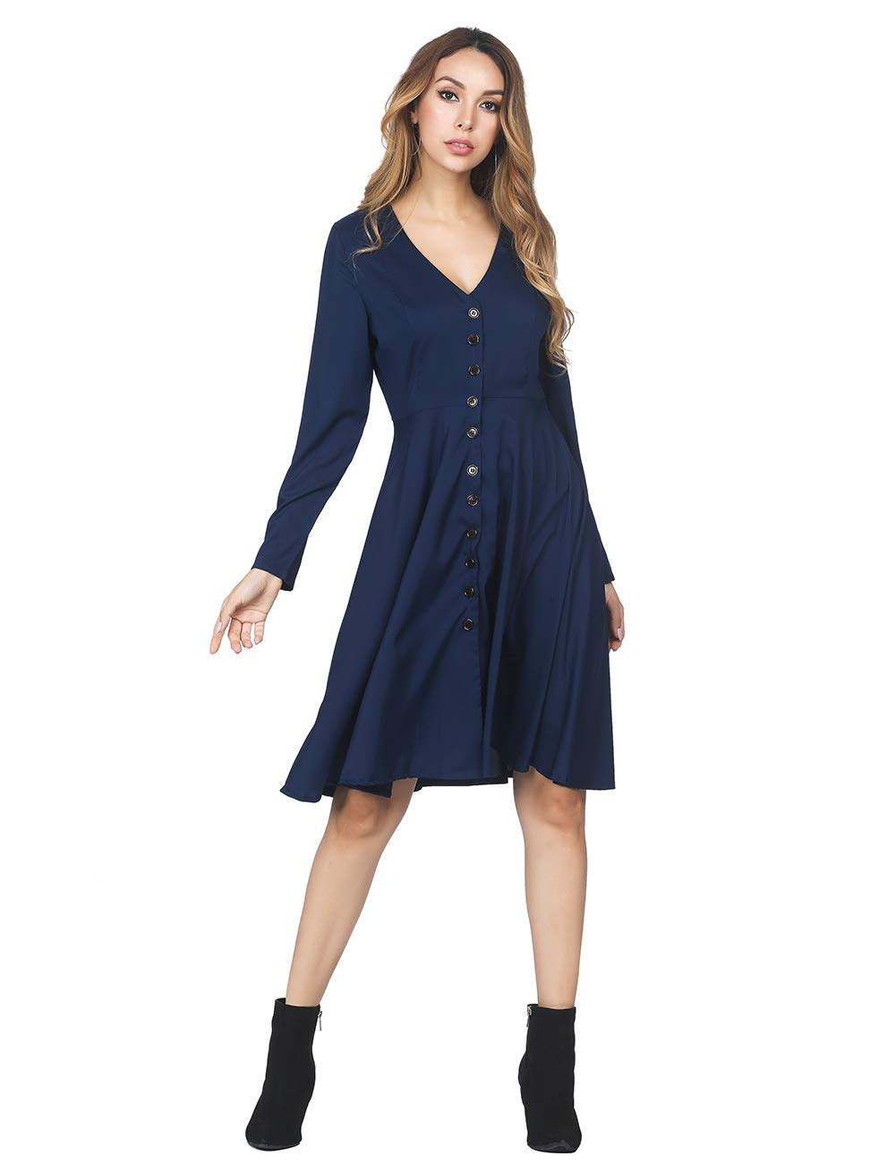 KUREAS Women's Dresses-Long Sleeve V Neck Button T Shirt Midi Skater Dress