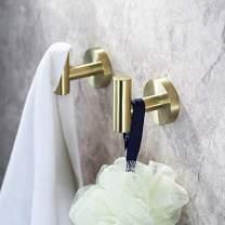 UMIRIO Gold Wall Hooks for Hanging Bathroom Towel Hook Heavy Duty Modern Metal Coat/Robe Hook for Shower Towel Key Hook Holder Kitchen Garage Bedroom,Stainless Steel,Wall Mounted,2 P