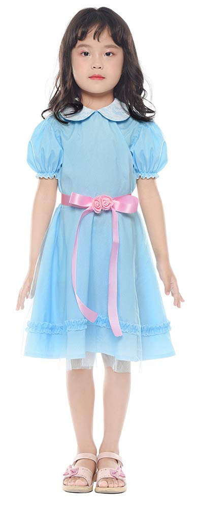 ROLECOS Lolita Dress Blue Chiffon Dress Puff Sleeve Halloween Party Cosplay Costume