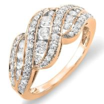 Dazzlingrock Collection 1.00 Carat (ctw) 10k Gold Round Diamond Ladies Cocktail Ring 1 CT