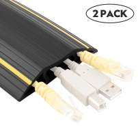 Floor Cable Cover, Floor Cord Protector 3 Channels Contains Cords, Cables and Wires, Perfect for Office, Home, Workshop, Warehouse, Concert, or Other Outdoor Surroundings (6.5 feet Set of 2,Black)