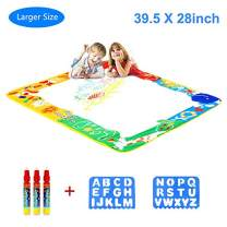 """Magic Drawing Mat, Kids Magic Mat Toy Large Water Doodle Mat 39.5"""" X 28"""" with 3 Magic Pens 2 Drawing Molds, Kids Educational Learning Toy Gift for Toddlers Age 2 3 4 5 Years Old Toys"""