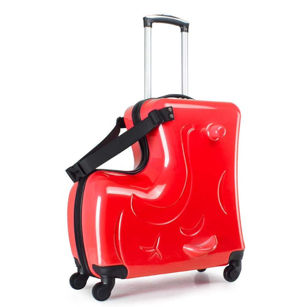 O-Toys 2 in 1 Kids Suitcase Ride-on Luggage with Spinner Wheels Kids Travel Carry-on Toys Waterproof Storage Box for Boys Girls Toddlers Red