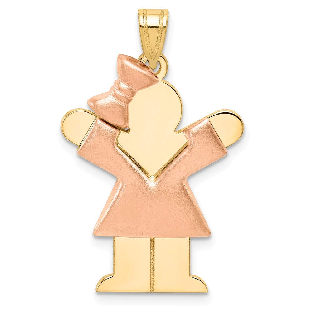 14k Two Tone Yellow Gold Girl Bow On Left Engravable Pendant Charm Necklace Disc Facing Front Fine Jewelry For Women Gifts For Her
