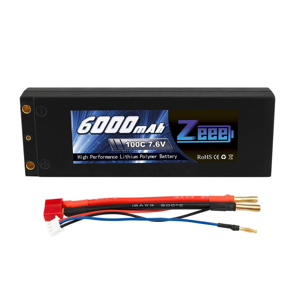 Zeee 7.6V 100C 6000mAh 2S High-Voltage Hardcase RC Lipo Battery with Dean Connector for RC 1/8 1/10 Scale Vehicles Car, Trucks, Boats(4mm Bullet)