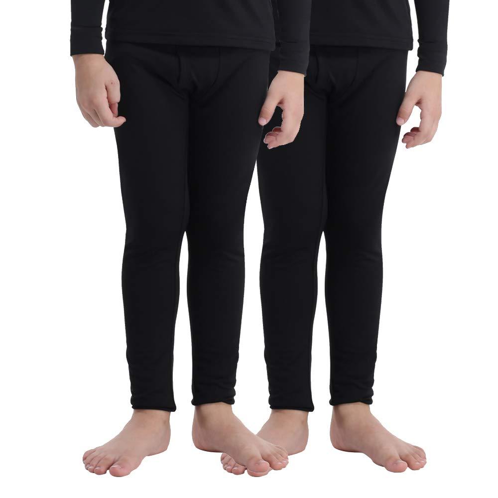 MANCYFIT Thermal Pants for Boys Fleece Lined Leggings Long Underwear Base  Layer 2 Pack