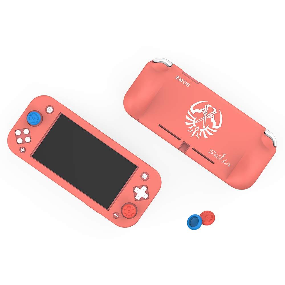 SMOS Silicone Case for Nintendo Switch Lite, Protective Cover Case Anti-Scratch and Non-Slip Rubber Case for Nintendo Switch Lite Console (Cherry Powder(Convex Style))