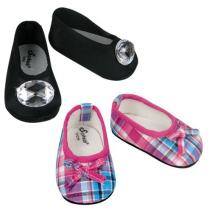 Sophia's Hot Pink & Teal Plaid Shoes & Black Jeweled Flat Made, Fits 18 Inch American Girl Dolls