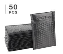 Fuxury #0 6x10 inch Black Poly Bubble Mailer Self Seal Padded Envelopes Pack of 50 (Black, 6x10)