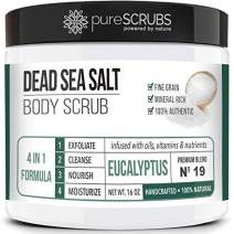 pureSCRUBS Premium Organic Body Scrub Set - Large 16oz EUCALYPTUS BODY SCRUB - Dead Sea Salt Infused with Organic Essential Oils & Nutrients INCLUDES Wooden Spoon, Loofah & Organic Exfoliating Bar