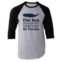 The Sea was Angry That Day My Friends All Seasons Black 3XL Raglan Baseball Tee Shirt