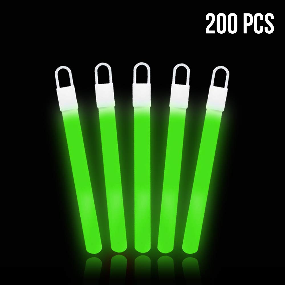 Lumistick 4 Inch Glow Sticks with Detachable Top Loop & Strings | Non-Toxic Glow in The Dark Camping Night Party Favor Supplies | Bright Colors Light Glowing up to 12 Hours (Green, 200 Glow Sticks)