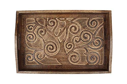 storeindya Tree of Life Hand Carved Wooden Breakfast Serving Tray with Handle for Tea Snack Dessert Kitchen Dining Serve-Ware Accessories 15 x 10 Inches