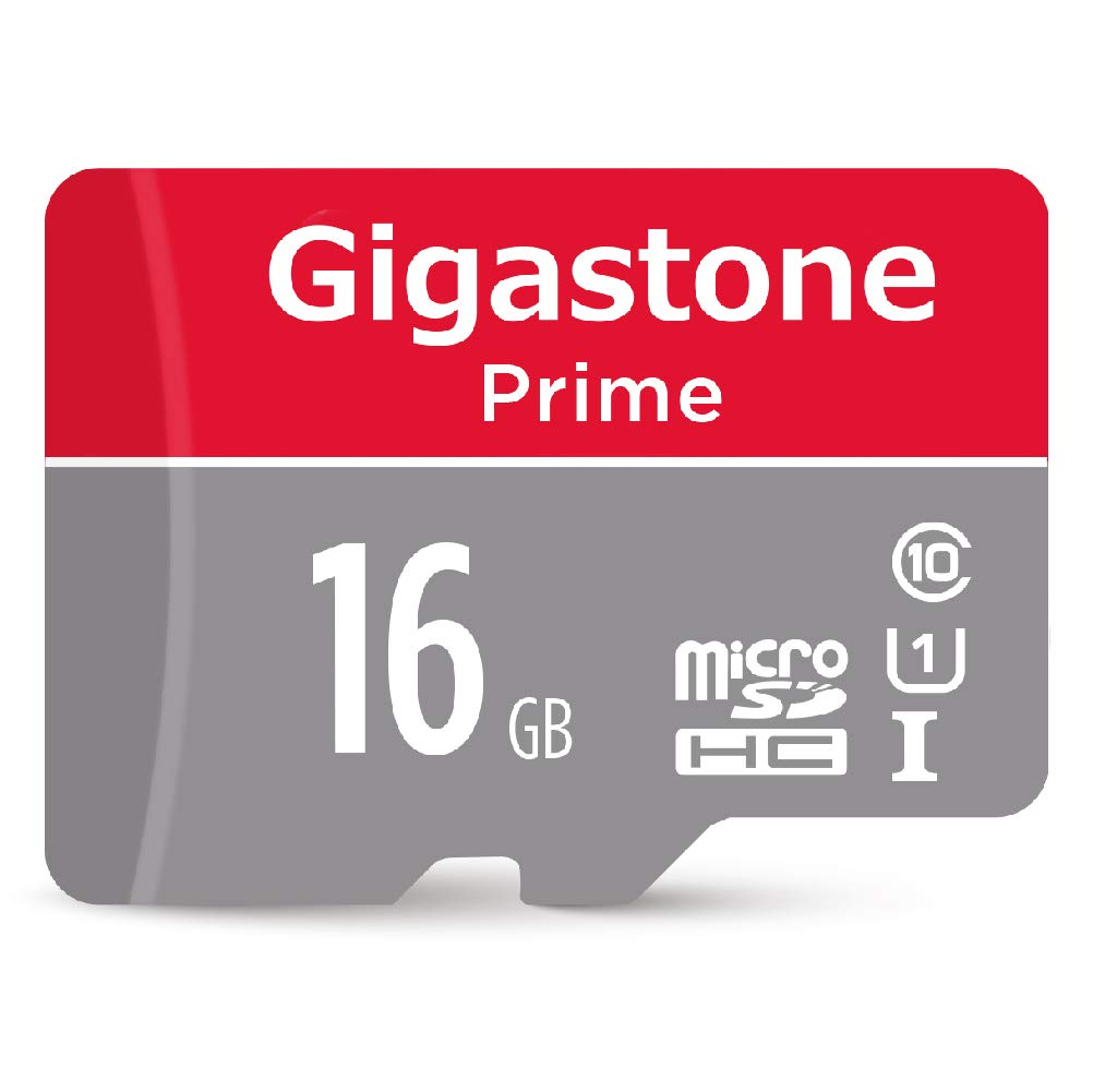 Gigastone 16GB Micro SD Card with Adapter, U1 C10 Class 10 90MB/S, Full HD available, Micro SDHC UHS-I Memory Card